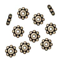 TierraCast Brass Oxide Finish Pewter Daisy Spacer Beads 6mm (10)