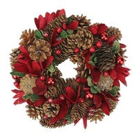 "10"" Glittered Pine Cone Red Floral Artificial Christmas Wreath with Ornaments - Unlit"