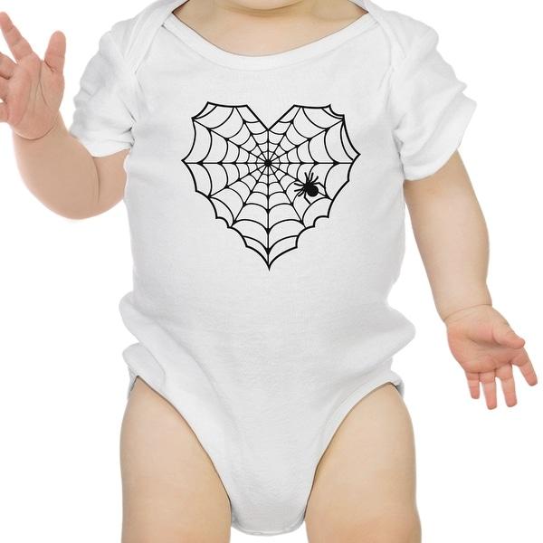 Heart Spider Web Baby Halloween Bodysuit White Cotton Infant Bodysuit