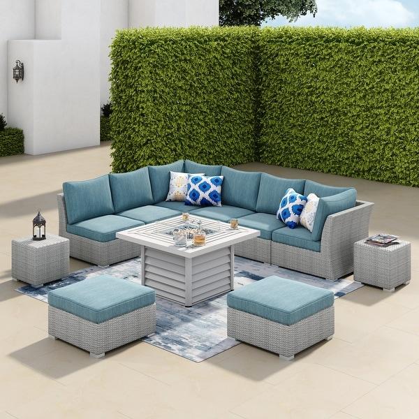 Shop Corvus 11-piece Grey Wicker Patio Sectional Sofa Fire ...