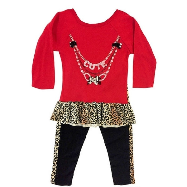 Ziggles Wiggles Baby Girls Red Cute Necklace Long Sleeve 2 Pc Outfit Set 12-24M