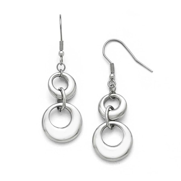 Chisel Stainless Steel Polished Circle Shepherd Hook Dangle Earrings