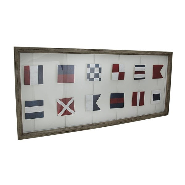 Shop Wood Framed Nautical Signal Flags Decorative Wall Hanging ...