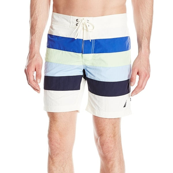 c54351035f Shop Nautica White Mens Size Large L Quick Dry Striped Swim Trunks ...