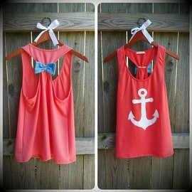 Anchor Print Womens Summer Casual Sleeveless Blouse Tank Tops T-Shirt Tee