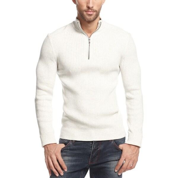 INC International Concepts Sweater Small S Light Gray 1/4 Zip Mockneck