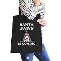 Santa Jaws Is Coming Black Canvas Tote Bag Funny Christmas Gifts