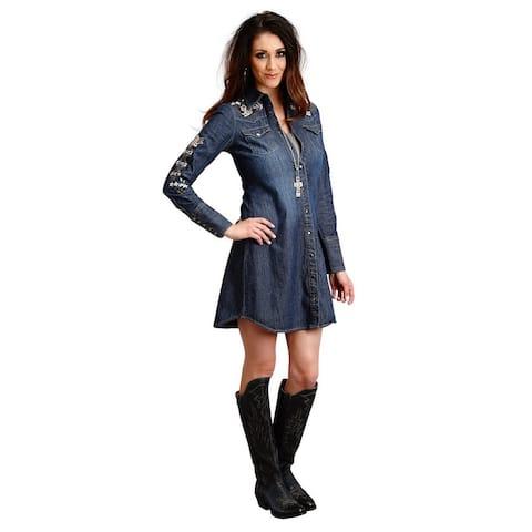 Stetson Western Dress Women Long Sleeve Snap Denim