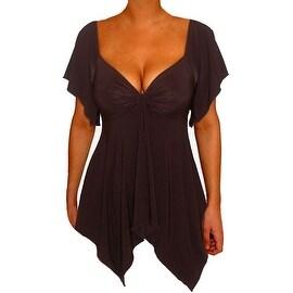 Funfash Plus Size Black Slimming Empire Waist Shirt Top Blouse