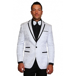 MZS-222 WHITE Men's SLIM FIT Manzini Fancy 1 button Paisley design Woven, sport coat.