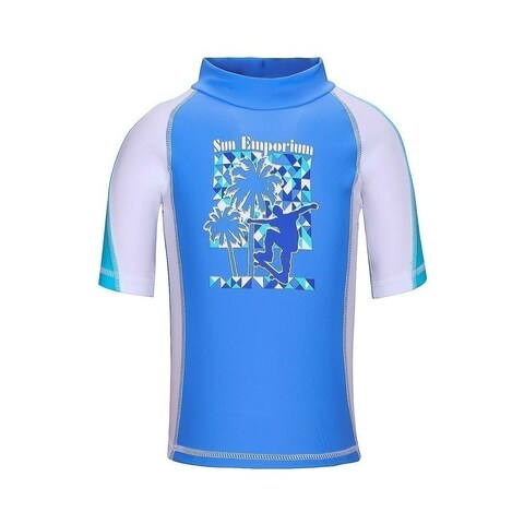 Sun Emporium Boys Blue Skater Boy Screen Print Rash Shirt