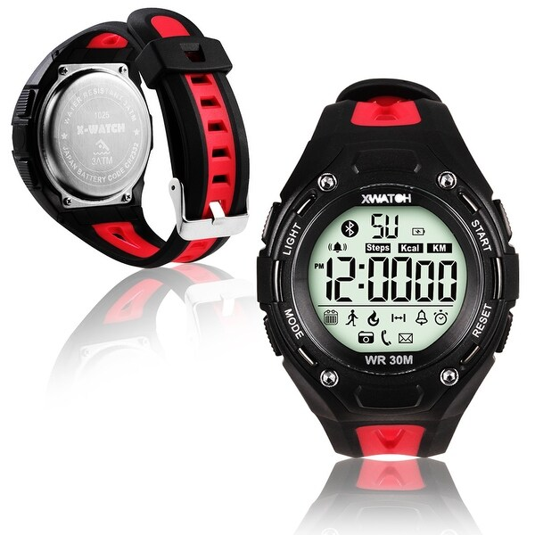 Indigi® Bluetooth 4.0 Waterproof Sports Watch + SMS/Call Notify + Pedometer + Remote Shutter + 1 Year Battery (Red)