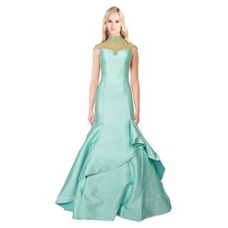 Mac Duggal High Neck Rhinestone Embellished Mermaid Prom Evening Gown Dress