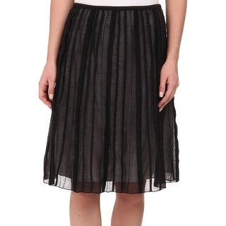 Nic + Zoe Black Womens Size 12P Petite Mid-Rise Pleated Skirt