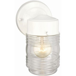 Design House 500181 Outdoor Wall-Mount Jelly Jar Wall Light, White