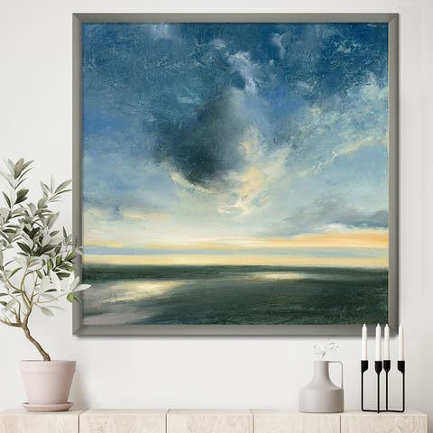 Designart 'Blue Coastal Sunrise' Landscape & Nature Framed Art Print