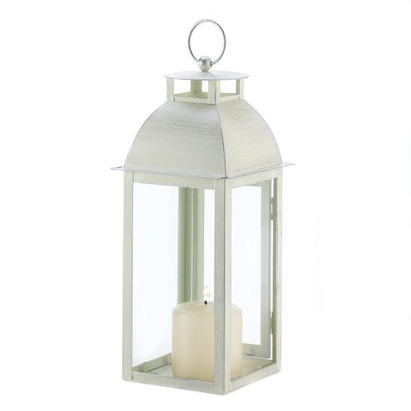 Set of 2 Weathered Ivory Candle Lanterns