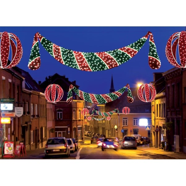 11' Commercial Grade LED Lighted Zurich Swag Christmas Decoration Display - CLEAR