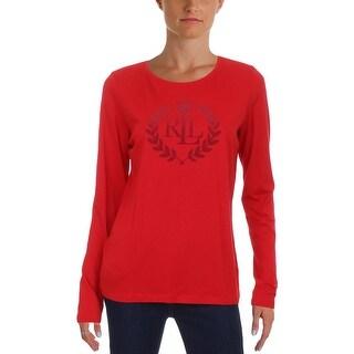 Lauren Ralph Lauren Womens Pullover Top Jersey Graphic - M