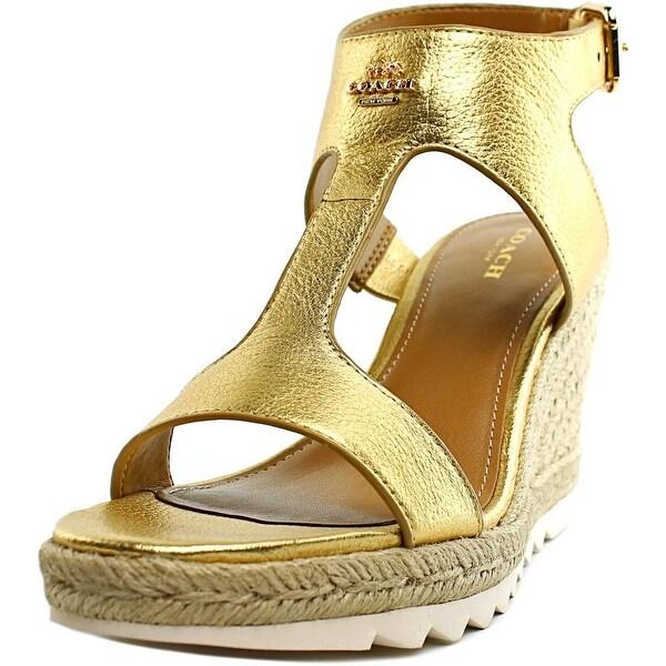 Coach Leeanne Women Open Toe Leather Gold Wedge Sandal