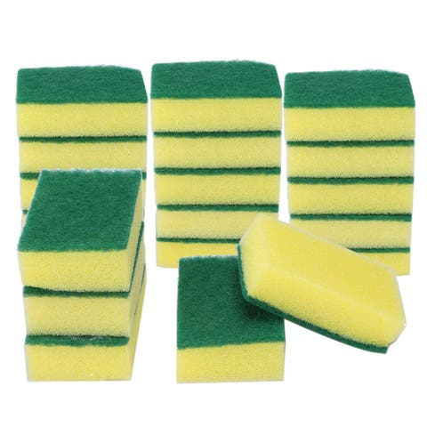 20pcs Scouring Pads Non-Scratch Scouring Sponge Scrubs Scouring Kitchen Cleaning - Green