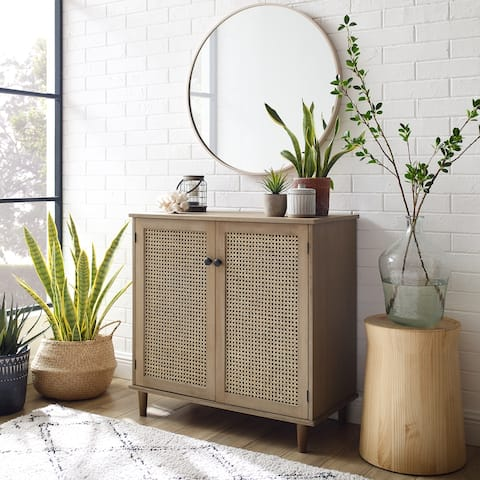 Art Leon Woven Rattan Wicker Doors Accent Cabinet Sideboard