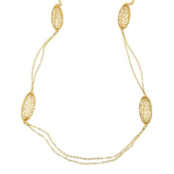 Just Gold Filigree Oval Station Necklace in 14K Gold - Yellow