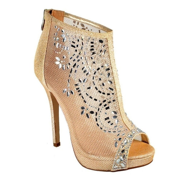 De Blossom Collection Adult Gold Mesh Floral Rhinestone Pumps