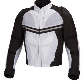 Men Motorcycle Textile Waterproof Windproof Jacket Black & White MBJ014.2