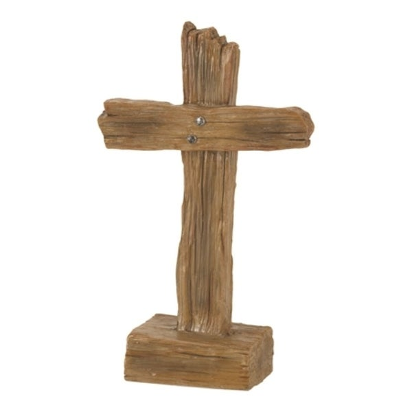 """4.75"""" Brown Solid Cross Shaped Tabletop Decor - N/A"""