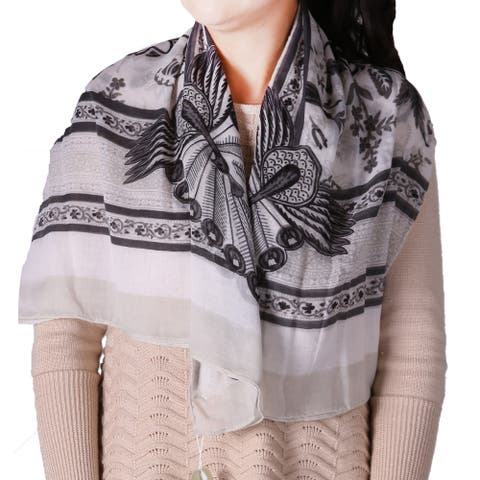 Richie House Women's Floral Grey Square Scarf - Standard