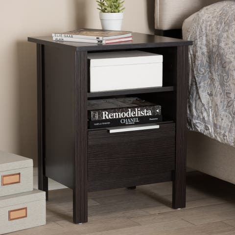 Hamish Modern and Contemporary Wenge Brown Finished 1-Drawer Nightstand