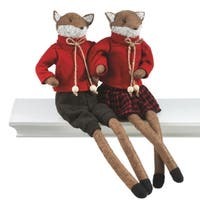 """18"""" Alpine Chic Friendly Mrs. Fox Christmas Figure with Red Sweater and Buffalo Plaid Skirt"""