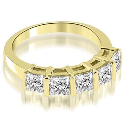 0.85 cttw. 14K Yellow Gold Bar Set Princess Cut Diamond Wedding Band