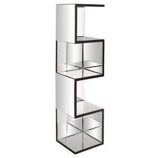 """Howard Elliott Mirrored Shelf with Zig Zag Effect 59"""" Tall Mirrored Glass and Wood Contemporary Shelves"""