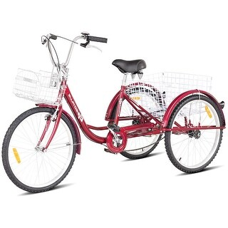 Goplus 26'' Single Speed 3-wheel Bicycle Adult Tricycle Seat Height Adjustable w/ Bell - Red