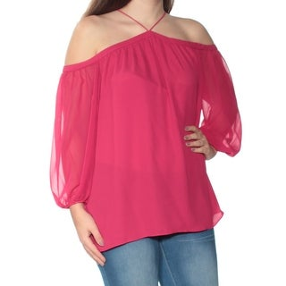 Womens Maroon 3/4 Sleeve Halter Top Size S