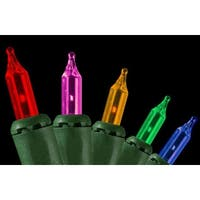 Set of 100 Multi-Color Everglow Flashing or Steady On Mini Christmas Lights - Green Wire