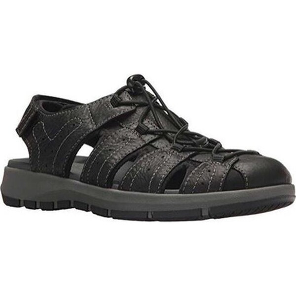 565fe91214c Shop Clarks Men s Brixby Cove Fisherman Sandal Black Full Grain Leather -  On Sale - Free Shipping Today - Overstock - 27348765