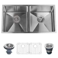 "Miseno MSS3219SR5050 32"" Undermount Double Basin Stainless Steel Kitchen Sink with 50/50 Split - Drain Assemblies and Fitted"