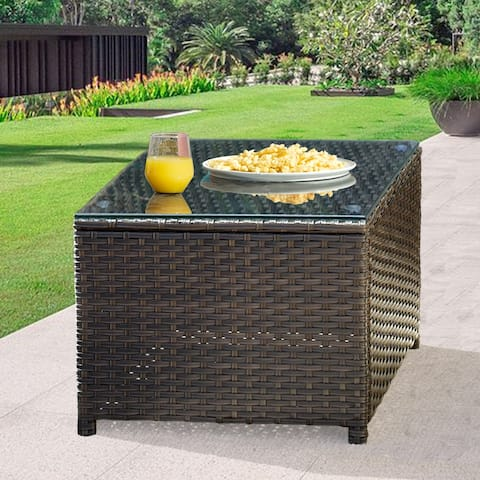 OVIOS Garden Outdoor Wicker Coffee Table with Glass Top