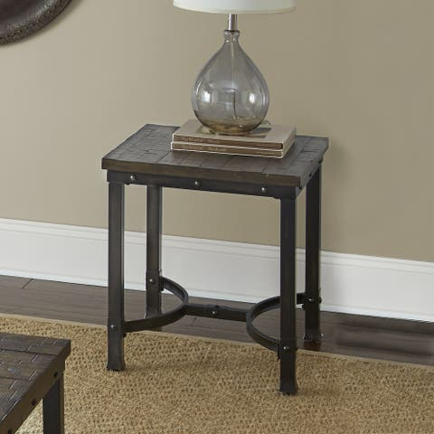 """Austin Industrial-style Wood End Table by Greyson Living - 24""""H x 22""""W x 22""""D"""