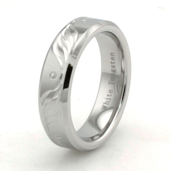Hand Carved White Tungsten Wings Pattern Ring