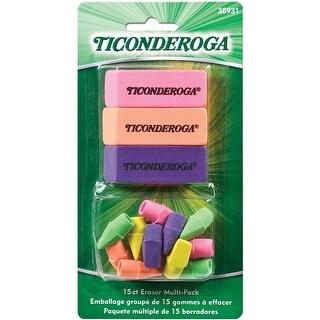 Ticonderoga Eraser Combo Set-Neon (3 Beveled, 12 Wedge Cap)