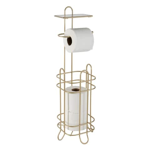 """Elle Décor Limoges Collection Tissie Roll Reserve & Dispenser with Phone Shelf in Satin Gold - Satin Gold - 6.3""""x 6.3""""x 26.7"""""""