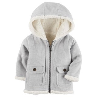 Carter's Baby Boys' 3M-24M Hooded Sherpa Zip Jacket, 3 Months - Heather