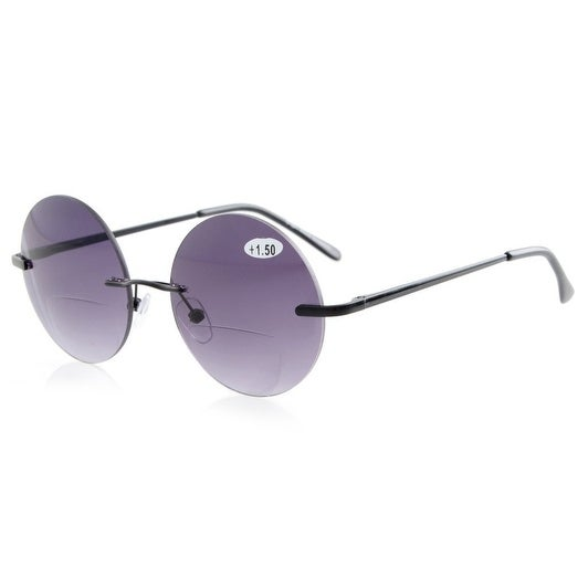 Eyekepper Sun Readers Spring-Hinges Rimless Round Bifocal Sunglasses Grey +1.25