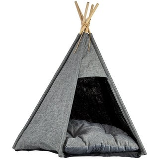 Link to Pet Teepee Portable Dog & Cat Bed with Cushion - Grey Similar Items in Cat Furniture