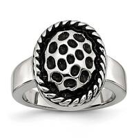 Chisel Stainless Steel Polished and Antiqued Ring