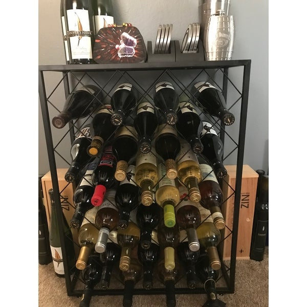 Shop Gymax 32 Bottle Wine Rack Metal Storage Display Liquor Cabinet W/Glass  Table Top   Free Shipping Today   Overstock.com   22971627